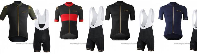 2019 Abbigliamento Ciclismo Lecol Nero Rosso Manica Corta e Salopette