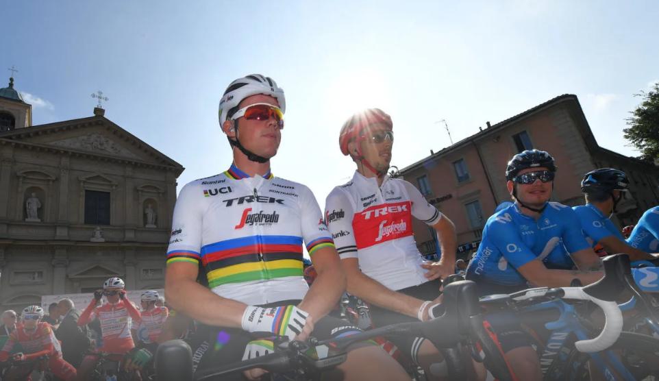 2020 Abbigliamento Ciclismo UCI Mondo Campione Trek Segafredo Manica Corta e Salopette